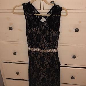 Navy Blue Lace Long Formal Dress